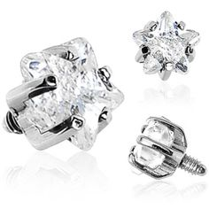 4mm Clear Prong Set Star Gem Dermal Top | Body Candy Body Jewelry #bodycandy