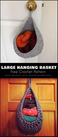 Crochet basket 475833516882837665 - Large Hanging Basket Free Crochet Pattern Source by hmceuen Crochet Basket Tutorial, Crochet Basket Pattern, Crochet Patterns, Crochet Baskets, Pdf Patterns, Crochet Ideas, Crochet Gratis, Free Crochet, Crochet Home