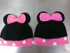 I used this pattern http://www.repeatcrafterme.com/2012/06/mickey-and-minnie-mouse-crochet-hat.html for the idea and the Ears & bow, but because I needed a bigger hat for older girls I used this pattern http://easymakesmehappy.blogspot.com/2010/12/free-crochet-pattern-monkey-hat.html minus the monkey ears and ear flaps and made the last 4 rows pink the 5th row I did the reverse single crochet. (crab stitch). I sewed the bow to center and then tacked the ears to the bow to make them more…