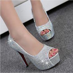 2659dc310cf6 Online Shop Plus size EU fashion 11 cm high heels women shoes pumps with  rhinestones for wedding or party