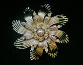 Vintage 1950s Ceil Chapman Signed Brooch, Designer Signed Jewelry, Pearl and Rhinestone Star Pin