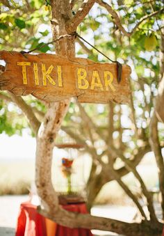 Tiki Bar for cocktail hour! Love this idea!