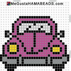 VW Beetle hama perler beads pattern by paige. , VW Beetle hama perler beads pattern by paige Beaded Cross Stitch, Cross Stitch Charts, Cross Stitch Embroidery, Cross Stitch Patterns, Hama Beads Patterns, Loom Patterns, Beading Patterns, Crochet Patterns, Pixel Crochet