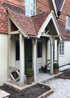 Cottage Front Porches, Porch Uk, Front Door Porch, Front Porch Design, Side Porch, House Front Door, House With Porch, Porch Entrance, Porch Designs