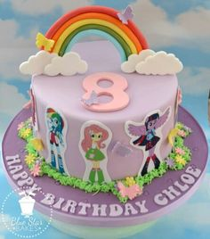 My Little Pony Equestria Girls Birthday Cake 8th Birthday Flowers Butterflies Clouds Rainbows www.bluestarbakes.co.uk www.facebook.com/bluestarbakes