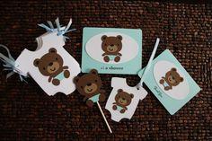 Boy Teddy Bear Baby Shower Invitation by StampInkAndPaper on Etsy