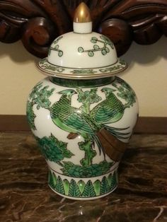 143525626132 Vintage Gold Imari Chinoiserie Hand Painted Green Peacock Ginger Jar Green  Peacock