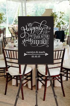 Wedding Welcome Sign Happily Ever After by pompcreative on Etsy