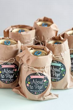 She's About to Pop! Cute baby shower favor idea.
