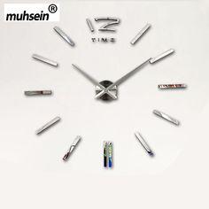 muhsein 2016 New Arrivals Wall Clocks Creative Modern Wall Stickers Unique Big DIY 3D Digital Mirror Art Home Decor Freeshipping