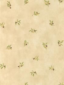 Wallpaper  pattern KK26718. Keywords describing this pattern are olives, leaves.  Colors in this pattern are Gold, Tan, Yellow.  Alternate color patterns are KK26717;Page:88.  Coordinating patterns are KK79378;Page:85. Product Details:  prepasted  scrubbable  peelable  Material is Solid Vinyl. Product Information:  Book name: Kitchen Style Pattern #: KK26718 Repeat Length: 21 0 inches.  Pattern Length: 16 1/2 inches.  Pattern Length: 20 1/2 inches.