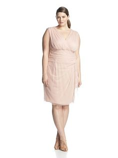 London Times Plus Women's Side Cascade Sheath Dress (Peach)