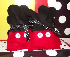Felt favor bags at a Mickey Mouse Party
