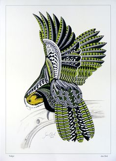 Sam Clark print Kakapo New Zealand art kura gallery...a little bizarre