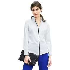Banana Republic Womens Fitted Non Iron Piped White Shirt Size 8 -... (90 CAD) ❤ liked on Polyvore