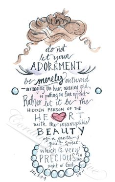 Girls Nursery Art watercolor illustration featuring verse 1 Peter about Adornment digitally printed 810 scripture art Bible Verses Quotes, Bible Scriptures, Bible Verses About Beauty, Verses About Women, Biblical Verses, Son Quotes, Baby Quotes, Quotable Quotes, Family Quotes