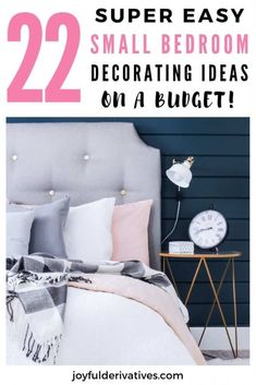 22 Genius Small Bedroom Decorating Ideas on a Budget - Joyful Derivatives - - Don't let your small room feel cramped and cluttered! Turn it into a stylish and cozy space with these 22 easy small bedroom decorating ideas on a budget. Small Bedroom Ideas For Women, Bedroom Decor For Women, Home Decor Bedroom, Kids Bedroom, Girl Bedrooms, Small Master Bedroom, Master Bedrooms, Small Room Design, Budget Bedroom