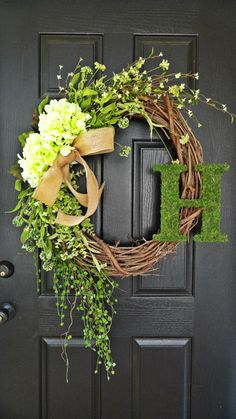 """""""the summer wreath"""" The """"Louisa"""" Wreath :) Intricate Designed Wreath with Simple Neutral Green Pallette, French Country Wreath, With Moss, Burlap and Hydrangeas Wreath Crafts, Diy Wreath, Grapevine Wreath, Monogram Wreath, Wreath Ideas, Diy Crafts, Tulle Wreath, Letter Wreath, Wreath Making"""