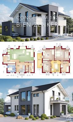 , Modern House Plan Architecture Design - Concept-M 167 , Modern House Plan Architecture Design Drawing Concept M 167 - Dream Home Plan Ideas with Double Story House Plans Blueprint - Open Floor Plan Interior. Dream House Plans, Modern House Plans, Modern House Design, 6 Bedroom House Plans, Modern Floor Plans, Contemporary Design, Architecture Design Concept, Plans Architecture, Interior Design Renderings