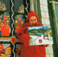 Untrained but ultimately famous folk artist from Nova Scotia, Maud Lewis. She lived her married life in poverty in a one-room house and was deformed by childhood rheumatoid arthritis. Maudie Lewis, Naive Art, Canadian Artists, Outsider Art, Teaching Art, Christmas Art, Famous Artists, Sculpture, Art Lessons