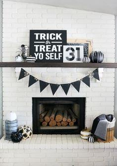 Black & White Halloween Mantel Decor