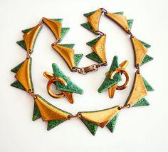 Vintage Matisse Necklace Earrings Copper Green
