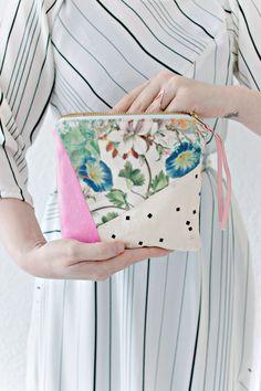 SEWING DIY | Geometric Fabric Scrap Zipper Clutch - tutorial