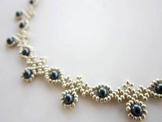 PDF beaded necklace with SWAROVSKY pearl seed bead by BeadsMadness