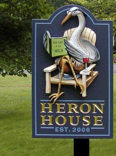 Heron House Sign - Carved gilded lettering, Hand-sculpted hand-painted heron-reading-a-book House Name Signs, Lake House Signs, Cottage Signs, House Names, Home Signs, Storefront Signs, Pub Signs, Murano, Street Signs
