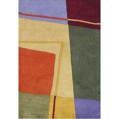 Handmade Geometric Rust Wool Blend Rug (9' x 12')
