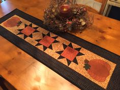 Your place to buy and sell all things handmade Pumpkin Applique, Blanket Stitch, Autumn Fall, Gold Stars, Table Runners, Hand Sewing, Handmade Items, Quilts, Fabric