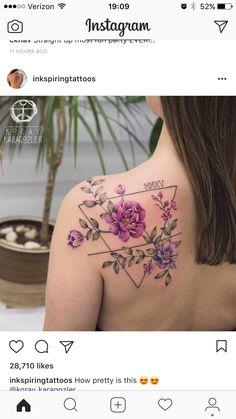 Rose triangle shoulder tattoo