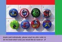 8  SUPERHERO super hero . on color knobs ,  Dresser Drawer Knobs boys. $25.00, via Etsy. For the boys room.