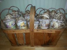 Twine wrapped Easter eggs in peat pot baskets