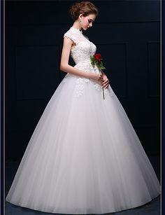 A-line Floor-length Wedding Dress -High Neck Tulle – GBP £ 131.39