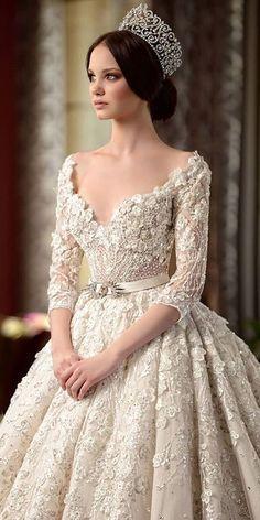 Unique Wedding Gowns, Princess Wedding Dresses, Dream Wedding Dresses, Bridal Dresses, Dresses Dresses, Wedding Bride, Beautiful Gowns, Gorgeous Dress, Lace Dress