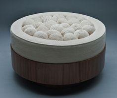 meubles vintage tabouret tricot bois