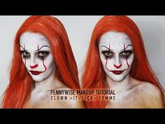 """PENNYWISE CLOWN """"It""""/""""Ca"""" MAKEUP HALLOWEEN - By Indy - YouTube"""