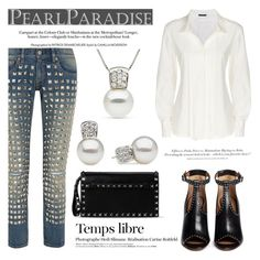"""""""White shirt and Pearls by Pearl Paradise"""" by pearlparadise ❤ liked on Polyvore featuring мода, Junya Watanabe, Donna Karan, Valentino, Hedi Slimane, H&M и Givenchy"""