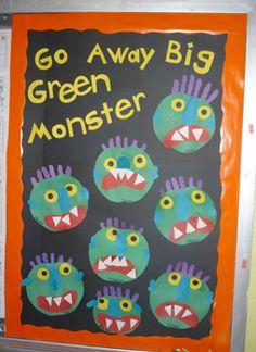 "Pre- K Fun's ""Go Away Big Green Monster"" bulletin board Monster Bulletin Boards, Monster Theme Classroom, Halloween Bulletin Boards, Preschool Bulletin Boards, Halloween Themes, Fall Halloween, Halloween Crafts, Fall Preschool, Preschool Crafts"