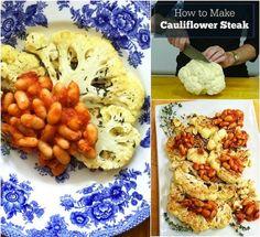 How to Make Cauliflower Steaks & a recipe for Cauliflower Steaks with White Beans via MealMakeoverMoms.com/kitchen #vegetarian