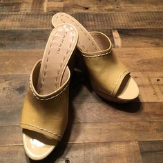 TAHARI Mules Butter/Tan leather mules with cork heels. As is, there are a couple small marks on the leather that are not visible when wearing. Tahari Shoes Mules & Clogs