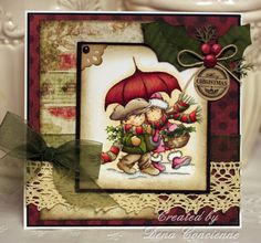 The new Christmas Lili of the Valley stamps are ready to be ordered! Today I am showin. Xmas Cards, Diy Cards, Greeting Cards, Card Making Inspiration, Making Ideas, Christmas Themes, Christmas Crafts, Whimsy Stamps, Marianne Design