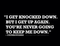 I get knocked down but I get up again and you're never going to keep me down.