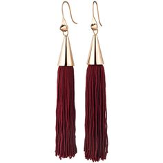 Eddie Borgo Small Silk Tassel Earring In Burgundy found on Polyvore featuring jewelry, earrings, silk jewelry, hook earrings, tassel earrings, tassel jewelry and eddie borgo