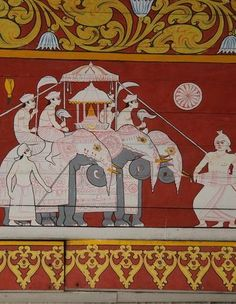 Elephant Parade Mural in Holy Temple of the Tooth Relic | Sri Lanka ❁