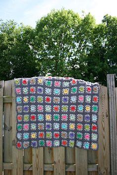 Dutch Bobble Flower Granny Square Blanket crochet pattern - pdf tutorial - haakpatroon