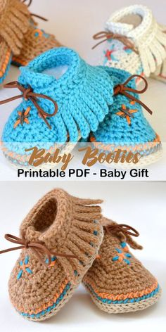 Make a pair of baby booties. Baby Moccasins for a boy or girl. baby shoes croche… Make a pair of baby booties. Baby Moccasins for [. Booties Crochet, Crochet Baby Boots, Crochet For Boys, Crochet Shoes, Boy Crochet, Crochet Baby Clothes Boy, Baby Bootie Crochet Pattern, Crochet For Children, Crochet Baby Stuff