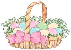 Easter Basket with Pink Ribbon Clipart