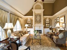 This is a spectacular example of blending paint tones to give walls/ceiling interest.  Along with a wonderful use of crown molding.